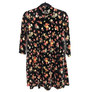 Free People open back floral velvet dress S